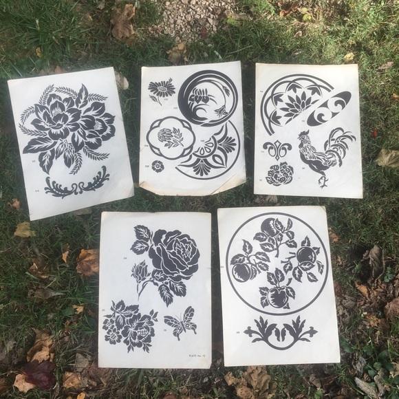 Vintage Etching Designs Symbols Flowers Botanical